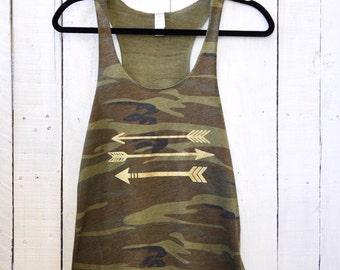 Glitter Arrows, camo tank top