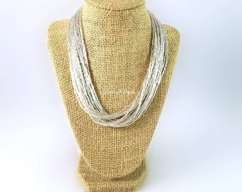 Silver necklace, silver bead necklace, silver beaded necklace, multi strand necklace, solid silver necklace, silver jewelry, silver