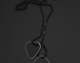 Blackened Stainless Steel Distressed Twin Guitar Pick Dog Tags with Matching Ball Chain Necklace