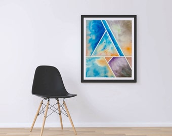Geometric Abstract Art / Geometric Watercolor / Printable Watercolor / Abstract Watercolor / Watercolor Wall Art / Instant Download