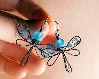 Blue dragonfly, Dragonfly earrings, dragonfly jewelry, Wire wrapped dragonfly, Copper dragonfly earrings, Blue & black jewelry