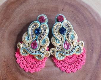 Soutache| Soutache Earrings| Soutache Lace Earrings|Lace Earrings|Stud Earrings|Long Soutache Earrings|Bridesmaids Earrings|Soutache Jewelry