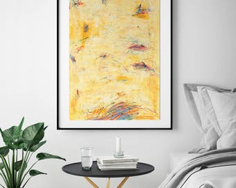 Original Abstract Painting Wall Art Modern Art Yellow Painting Contemporary Home Decor Acrylic Mixed Media