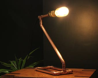 Copper Edison Lamp Table with Bulb, Copper Pipe Light, Handmade Bespoke Industrial Metal Vintage Retro Upcycling