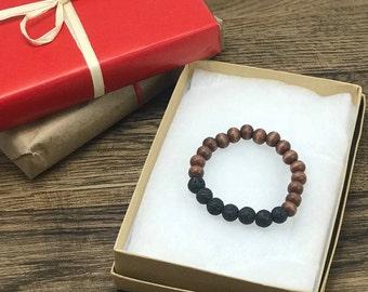 Lava Bead Bracelet | Lava Diffuser Bracelet, Wood Bead Bracelet, Lava Stone Bracelet, Essential Oil Bracelet | Aromatherapy For Less