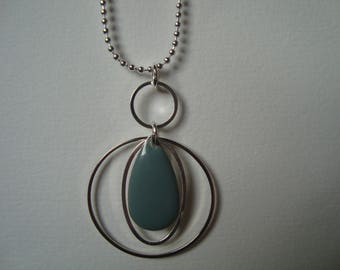 Necklace with gray shape enameled sequin drop rings