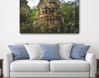 Cambodia Temple Canvas Print // Large Canvas Wrap, Asia Decor Wall Art, Bayon Buddhist Temple, Buddhism, Travel Photo, Fine Art Home Decor