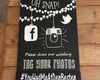 Wedding Hashtag Sign, Hand Painted, Instagram, Facebook, Twitter, Hashtag, Custom