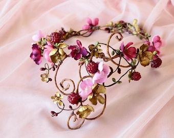pink and gold flower crown, dusty pink flower crown, mauve wedding headpiece, raspberries, rustic wedding headpiece, floral woodland crown