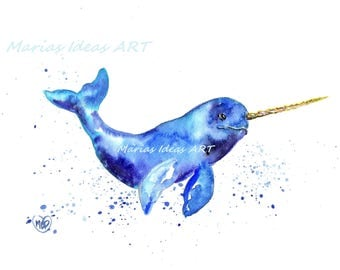 Unicorn , narwhal,  Unicorn of the sea, horn, sea life, Narwhal art, kids room art,  Marias Ideas Art