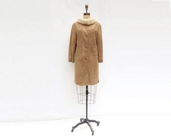 Vintage Suede Coat 60s Fur Collar Coat 1960s Suede Coat Beige Suede Coat Mod Winter Coat Blonde Mink Collar Suede Leather Coat  m