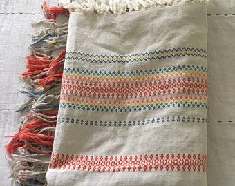 Vintage Mid Century Hand Woven Tablecloth Folk Romanian Bohemian Scandinavian