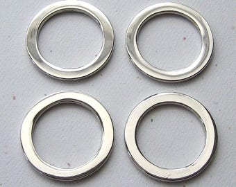 "1"" Round D Rings Nickel Plated Flat Circle Rings for 3/4"" Straps - set of 4"