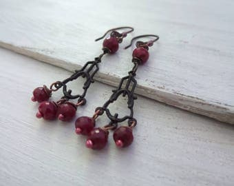 Ruby Earrings, Genuine Ruby Earrings, July Birthstone, Game of Thrones Jewelry, Ruby Drop Earrings, Ruby Jewelry, Ruby Chandelier Earrings
