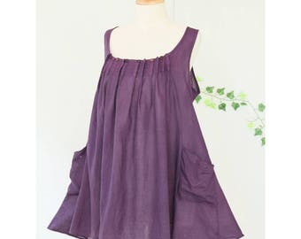 Pleated Sleeveless Cotton Summer Top with pockets, Scoop Neck Loose Fit Tank Top in Purple, Bust 38""