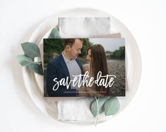 Editable Template - Brushed Save the Date Photo Card Announcement