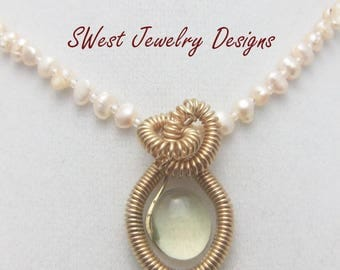 Yellow gemstone necklace, pearl necklace with pendant