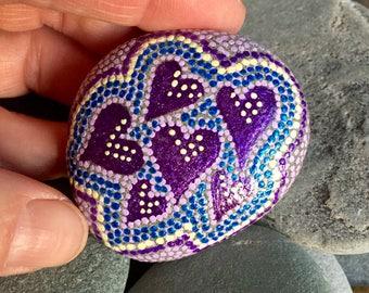 lavender love /painted stones/ painted rocks/dot rocks/ heart rocks/ meditation stones/ boho art /hippie art/paperweights/ items for altars