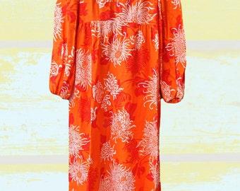 Long boho chic dress long sleeves, orange Xs