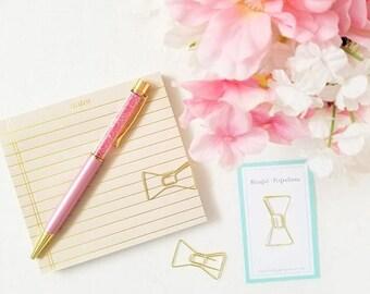 Gold Bow Paper Clip - Bow Paper Clip, Kate Spade Bow Clip, Planner Accessories, Page Markers, Use w/ Happy Planner, Midori, Kikki K, Filofax