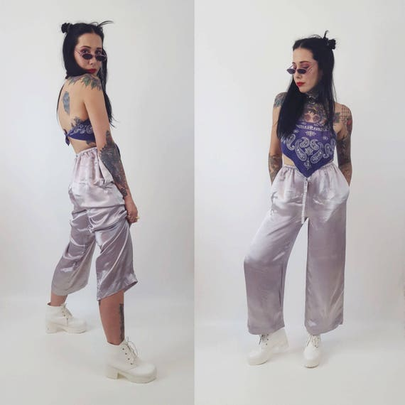 80's Silver High Waist Harem Silky Pants - Small Medium Womens Vintage Tie Waist Soft Comfy Pants - Fall Spring Winter PJ Bottom Pants