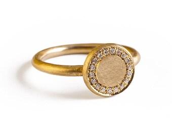 Unique Signet Ring, Diamond Signet Ring, Impressive Signet Ring,  Natural Diamond Signet Ring, 14k/18k  Solid Gold Signet Ring, vintage ring