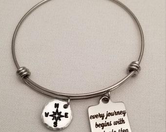 Inspirational Stainless Steel Bangle Bracelet, Every Journey Begins With A Single Step, Graduation Expandable Bracelet, Words of Wisdom