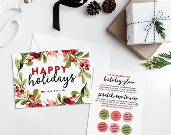 Rodan and Fields Holiday Scratch Off Cards, Rodan and Fields Christmas Card, Rodan and Fields Independent Consultant Customer Thank You