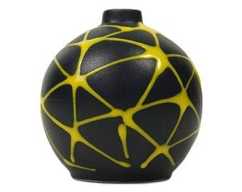 Mid Century Ceramic Vase MCM MOD Pottery Art Black Yellow Stripes Abstract Stoneware Miniature Small