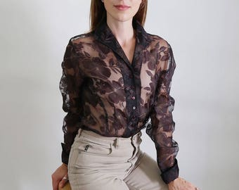 Vintage Dark Brown/Purple Sheer Floral Blouse
