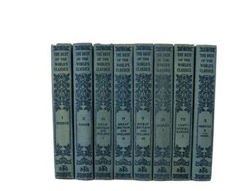 Small Antique Books,  Farmhouse Home Decor,  Best of the World's Classics, Blue Books, Decorative book,  Book Decor, Book Wedding, Old Books