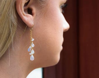 Moonstone Earrings in Silver, Gold or Rose Gold, June Birthstone, Rainbow Moonstone Dangle Earrings, Gemstone Jewelry, Tassel Earrings, Gift