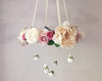 Lace dove purple floral chandelier, purple flower mobile, baby girl mobile, purple nursery mobile, crib mobile, lace baby mobile