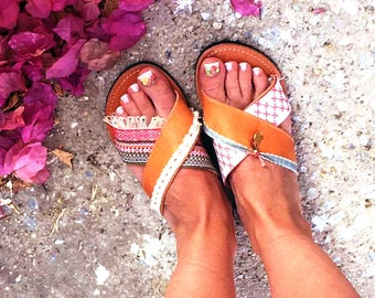 Slide sandals women, handmade shoes, ancient Greek leather sandals, gift for her under 30, flat shoes for women, slip on shoes,brown leather
