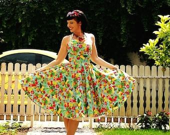 Pinup dress 'Joy dress in summer coctail' rockabilly tiki dress