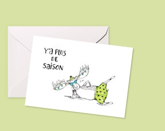 """Greeting card """"Y' has more season""""-Christmas, happy new year wishes, illustration"""