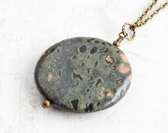 Dark Green/Black Oolitic Jasper Gemstone Pendant Necklace on Antiqued Brass Chain