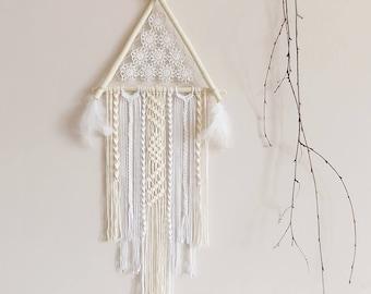 Dream catcher, large, boho dreamcatcher, triangle, macrame, wood, crochet, wall decor, neutral, white, hanging, handmade, bedroom, nursery