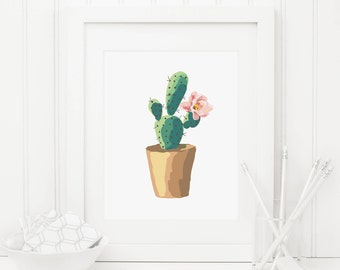 Cactus Printable Succulent Wall Art Succulent Nursery Decor Cactus Wall Art Succulent Arrangement Pink and Mint Nursery Wall Art Pink Flower