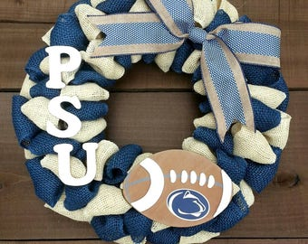 Penn state wreath burlap wreath NCAA wreath football wreath college football wreath team wreath**message me about other teams**