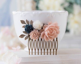 Blush Pink white navy blue wedding hair comb, bridal hair comb, leaf branch rose flower hair accessory, bridesmaid gift, vintage Wedding