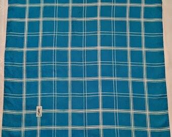 """Vintage Authentic Yves Saint Laurent Plaid Blue Jacquard Silk 3"""" Square Scarf"""