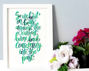 """Framed Quote from The Great Gatsby, by F.Scott Fitzgerald - Literary Quote - Literary Gifts - Gatsby Decor - Wall Art - """"So we beat on.."""""""