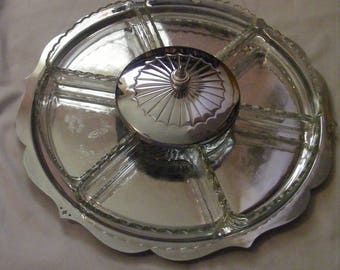 Vintage Large Metal and Glass Serving Tray