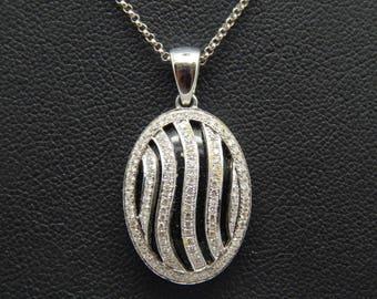 Vintage Victorian Revival 14K White Gold Onyx and .55 Carat Diamond Pendant Necklace