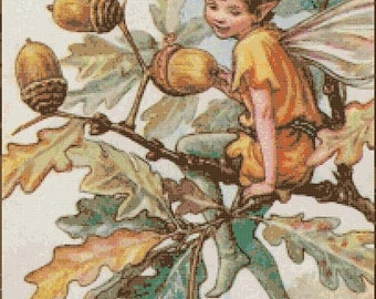 Acorn fairy cross stitch pattern korss - 204 x 317 stitches - needlecraft cross stitch pdf chart - Instant Download - B1407