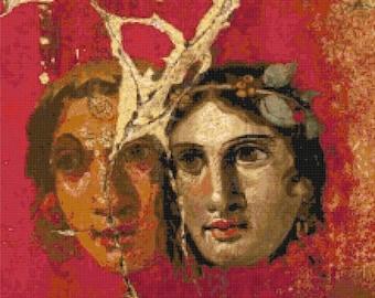 Pompei's art Cross Stitch Pattern Pdf pompei pattern pompei cross stitch - 220 x 204 stitches - INSTANT Download - B1347