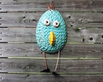 ceramic bird, wall bird, aqua bird, handmade bird, bird art, bird