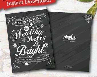 Christmas Chalkboard - plexus holiday note card, plexus Christmas card, Instant digital file