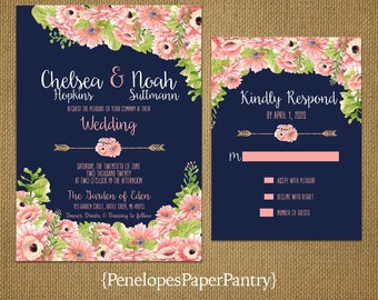 romantic navy summer wedding invitationnavy blueblushgerber daisiesfloral arrow - Daisy Wedding Invitations